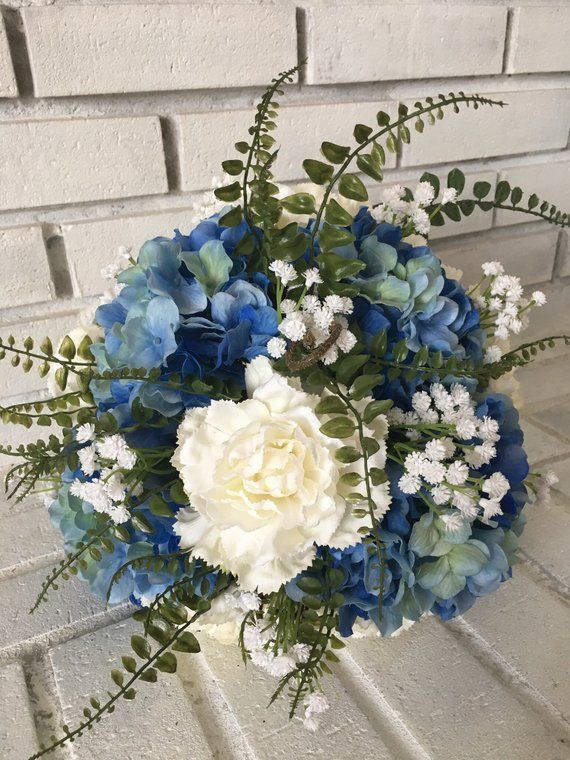 Blue Hydrangea And White Carnation Wedding Bouquet Blue Wedding Bouquet White Carnation Bouquet Carnation Wedding Bouquet