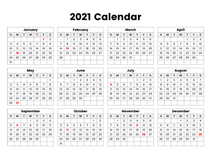 Download this 2021 year calendar with holidays which ...
