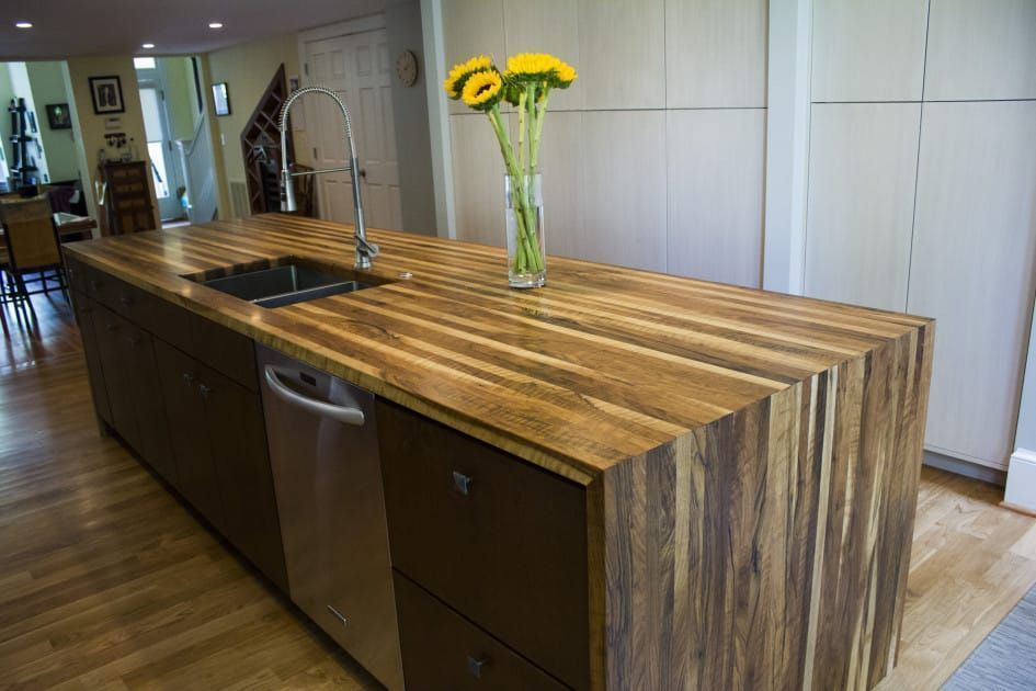 Image Result For Island With Wood Waterfall Countertop