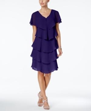 c8f0de1da4a Sl Fashions Tiered Rhinestone Capelet Dress - Blue 12