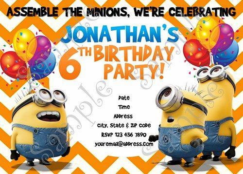 minions birthday invitation despicable