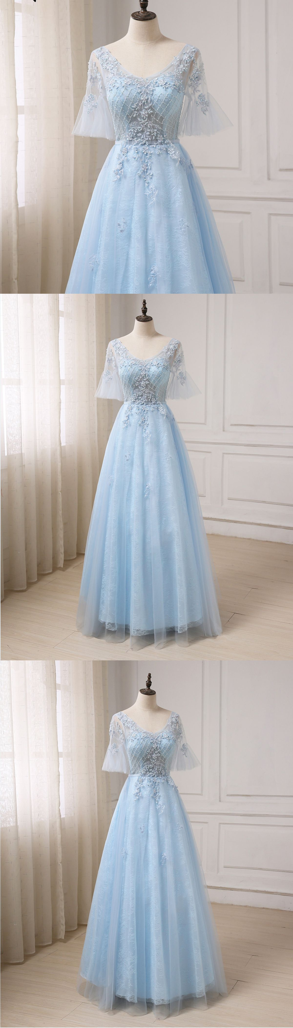 Blue tulle v neck see through long prom dress long evening dress