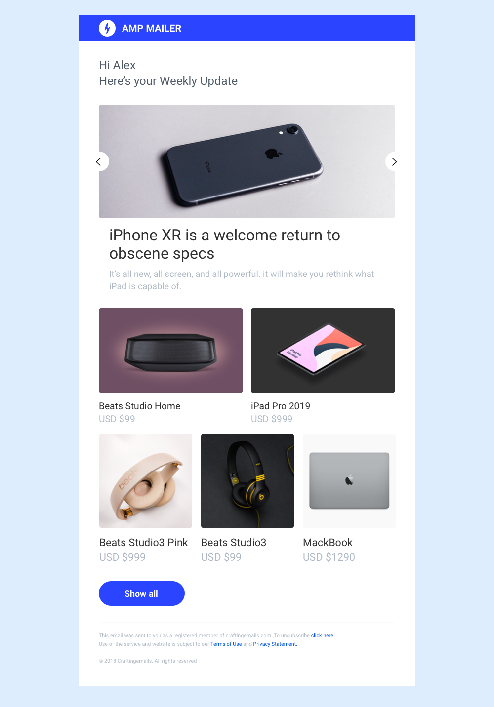 AMP Email template newsletter (With images) Email