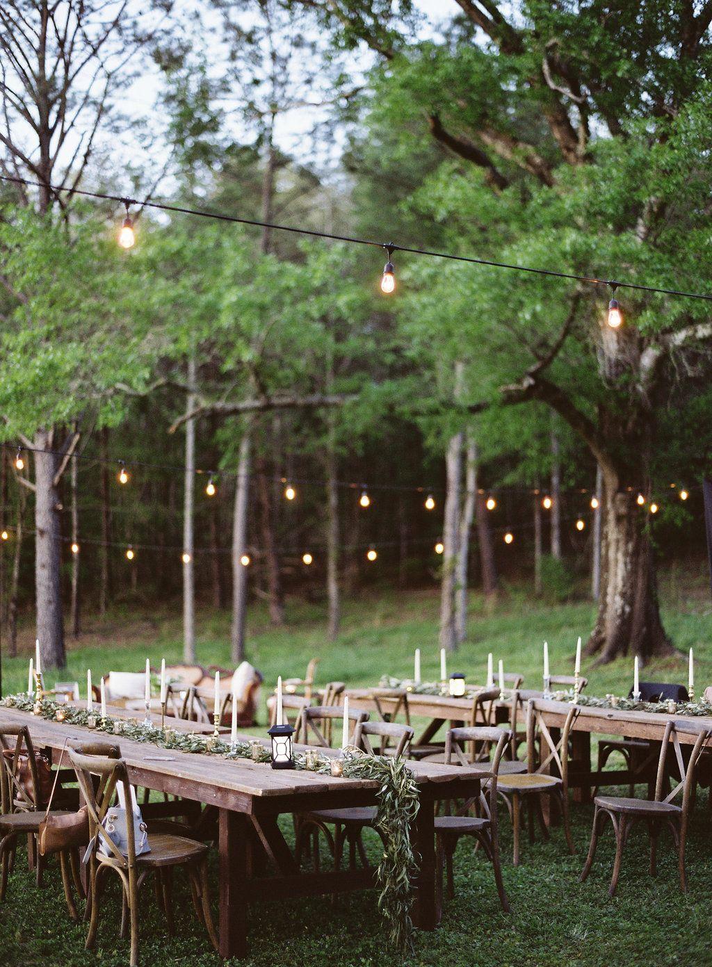 Outdoor Wedding Reception Table Set Up. #organic #boho #wedding ...