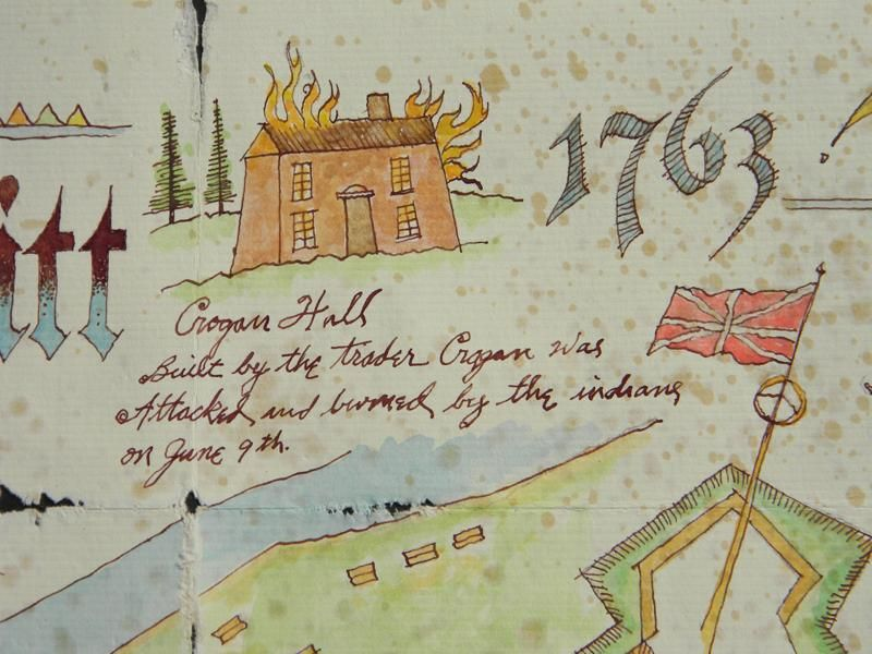 Grogan's Hall. Close up from Fort Pitt painting.