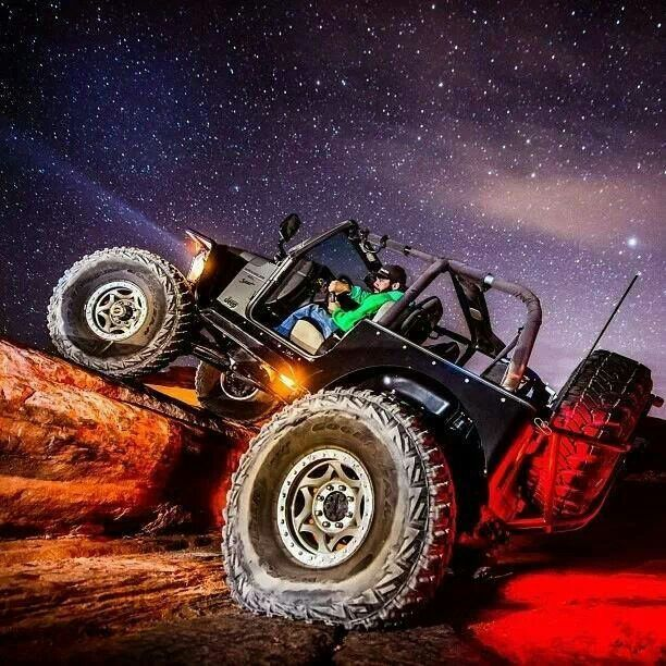 Jeep Off Roading At Night