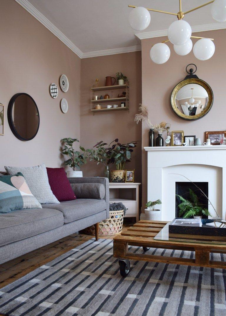 Best Scandinavian Living Room Makeover Muted Pink Neutrals 400 x 300