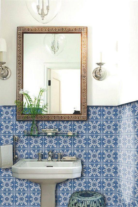 Kitchen bathroom portuguese asterix vinyl tile sticker for Blue vinyl flooring bathroom