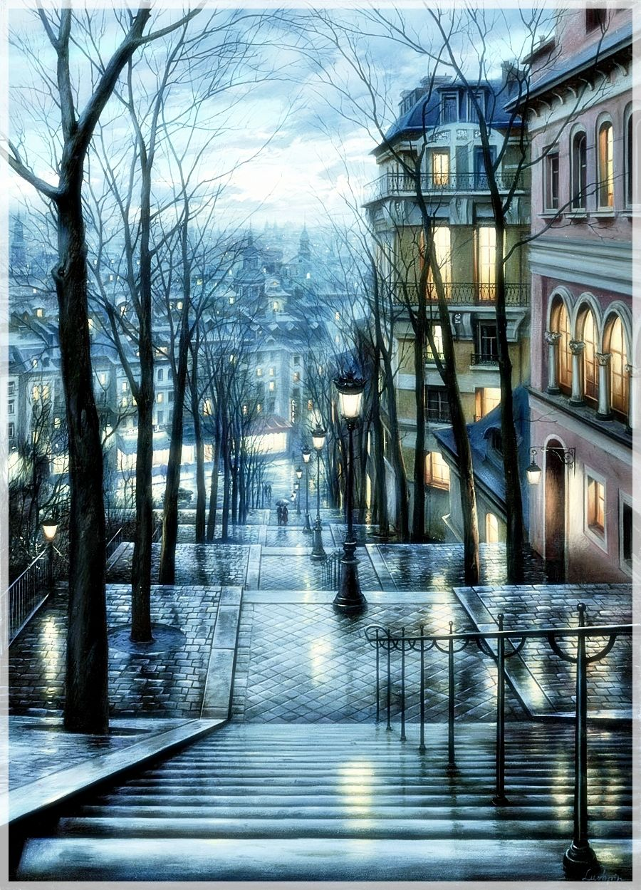 Обои eugeny lushpin, street, port, landscape, evening, painting, lushpin, An evening journey. Города foto 11