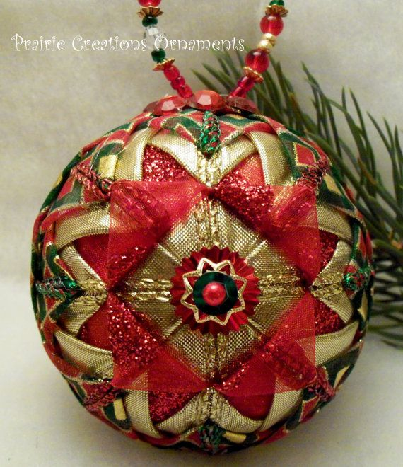 Red And Gold Folded Ribbon Quilted Christmas Ball Ornament Fabric Christmas Ornaments Sewn Christmas Ornaments Quilted Christmas Ornaments