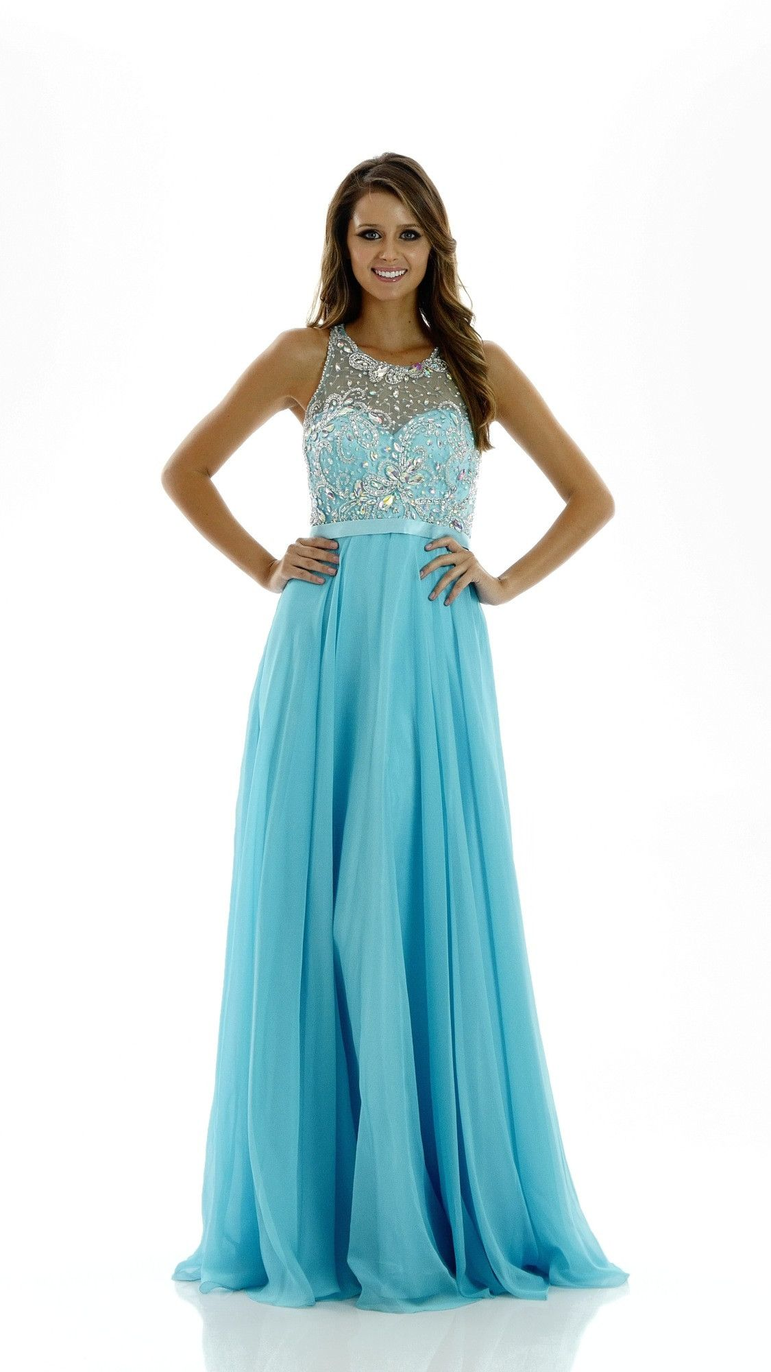 Illusion Halter Top Chiffon A-line Evening Gown with Sheer Back ...