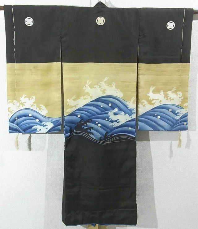 This is a vintage Miyamairi Kimono for boys. It has been dyed charming nami-usagi(rabbit on wave) design, and partly embroidered