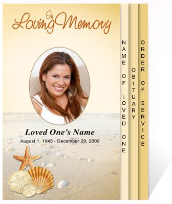 Beautiful Funeral Programs Seashore Themed 4-Page Graduated - celebration of life templates
