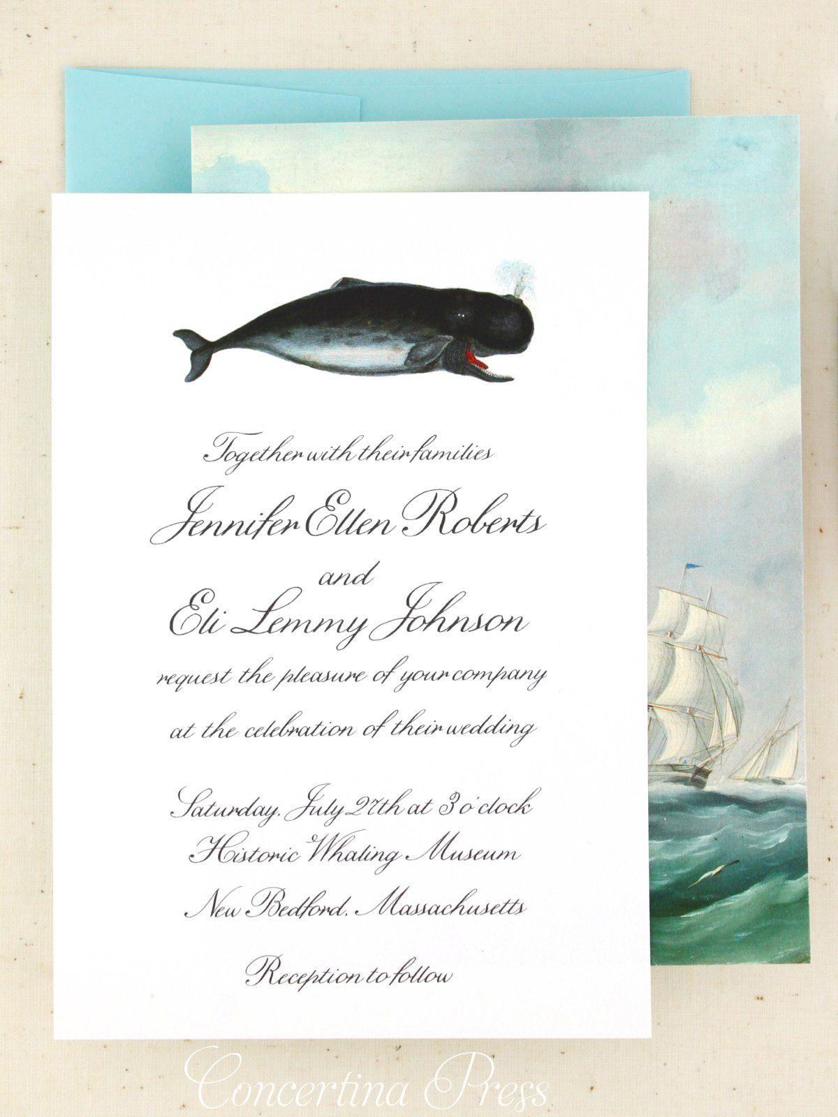 Whale Wedding Invitations With Seashell Rsvp Wedding Invitations