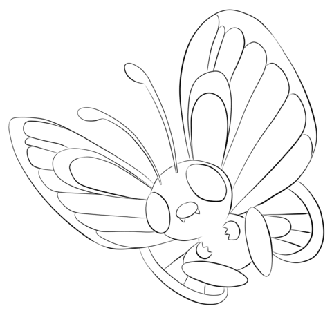 Butterfree Coloring Page From Generation I Pokemon