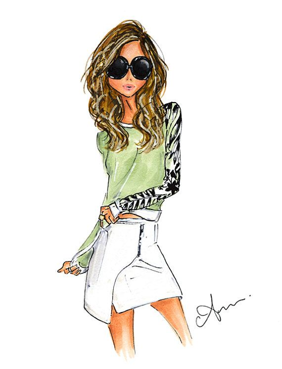 fashion illustration print summer vibes por anumt en etsy