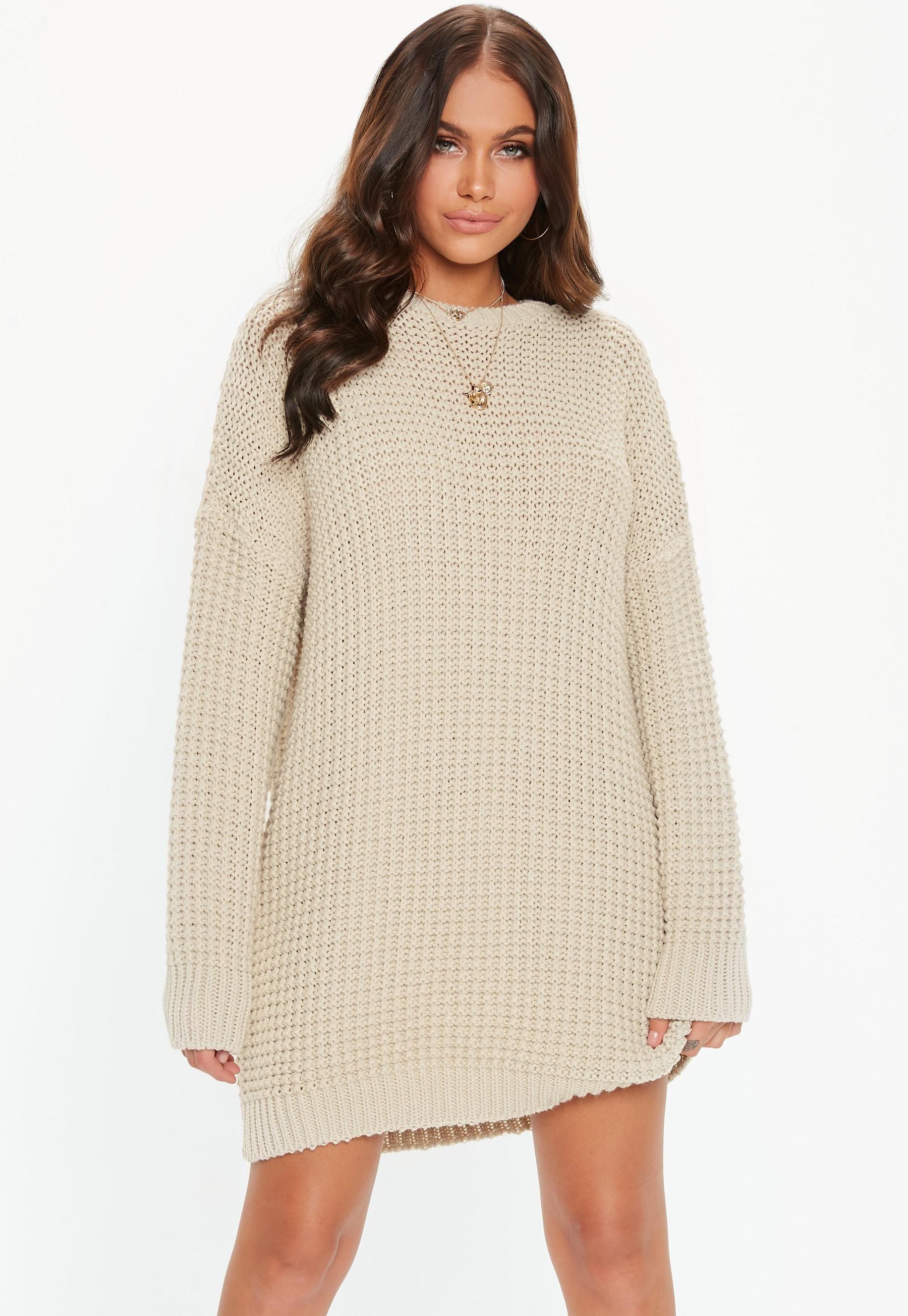 bf98b8e80fe Stone Oversized Chunky Knitted Dress