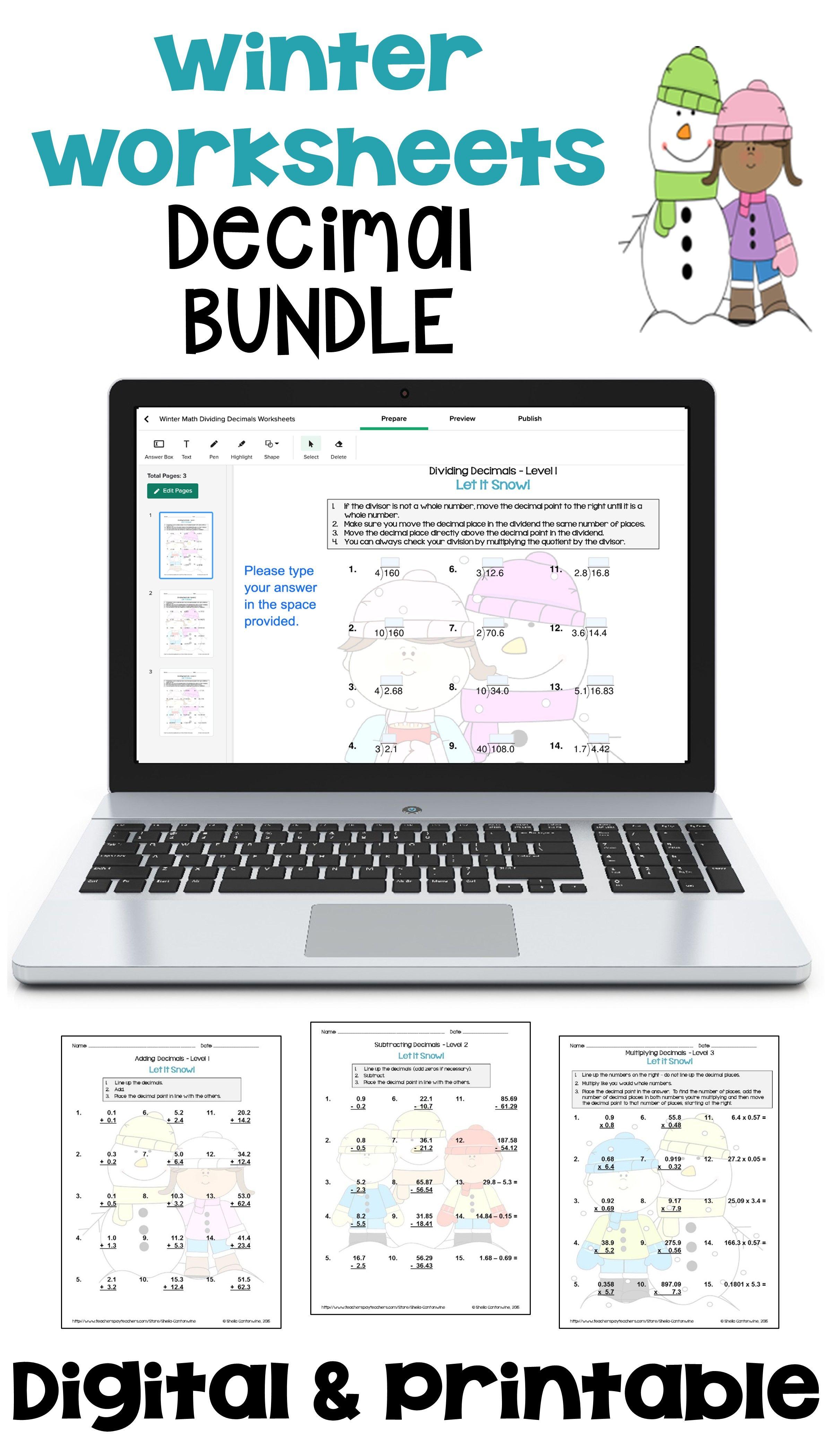Winter Math Decimal Worksheet Bundle With Printable And Digital Options In 2021 Common Core Math Worksheets Math Math Decimals [ 4200 x 2400 Pixel ]