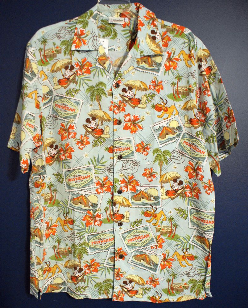 37aa2dee New DISNEY WORLD MICKEY POLYNESIAN Hawaiian Shirt Mens M | Tracey ...