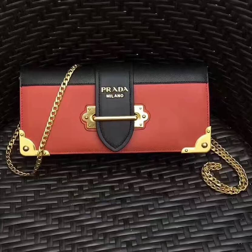 c25fb3ce82b05a Prada Cahier Calf Leather and Saffiano Leather Clutch Bag 1BF048 Terracotta/ Black 2017
