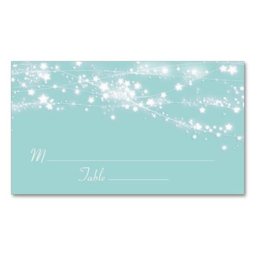 Stars Light Turquoise Blue Wedding Place Card Business Card Template