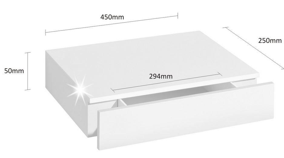 Floating Shelf With Drawer 450x250x80mm U2013 Mastershelf