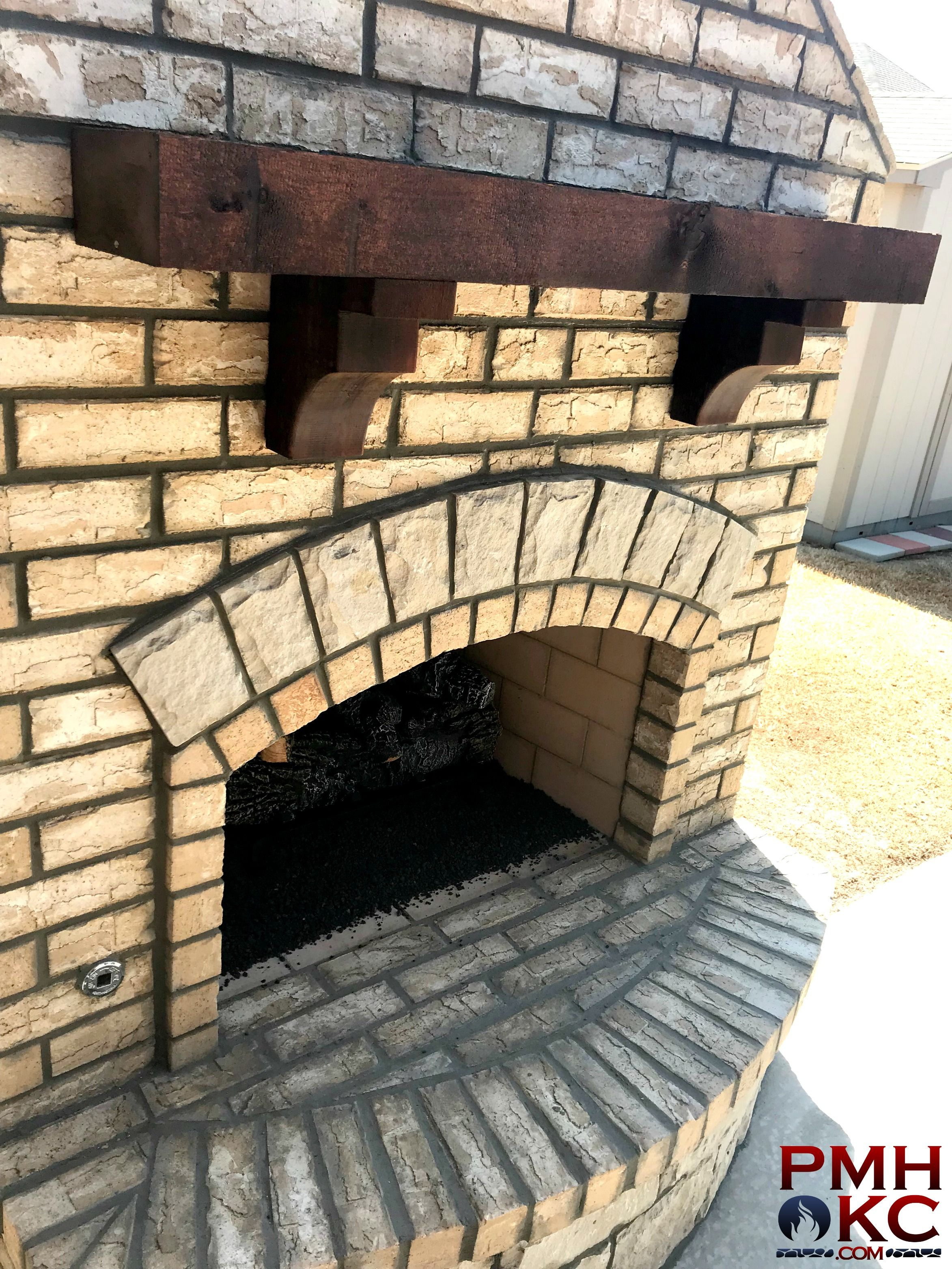 Custom Brick Fireplace With Stone Accents And Cedar Mantle Custom Bricks Brick Fireplace Custom Fireplace