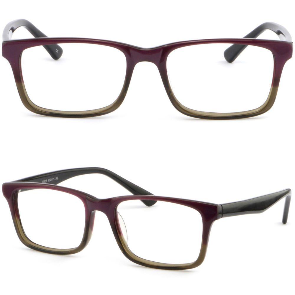 65546f4310f Square Women Acetate RX Prescription Glasses Plastic Frame Dual Tone Gray  Purple  Unbranded