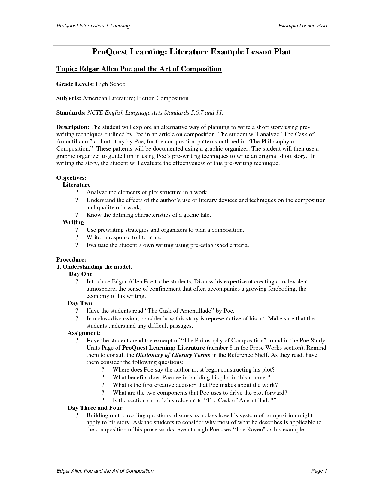 lesson plans for american literature   ... Information Learning Example  Lesson Plan ProQu…   American literature [ 1650 x 1275 Pixel ]