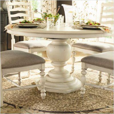 Paula Deen Home Paula S Round Pedestal Dining Table In Linen 996655 Tab 996 Round Pedestal Dining Table Dining Table In Kitchen Round Pedestal Dining