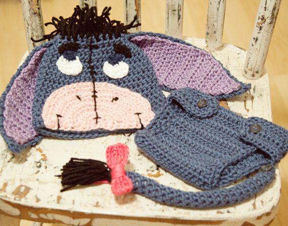 Crochet Eeyore Beanie and Diaper Cover | şapka şal eldiven ...