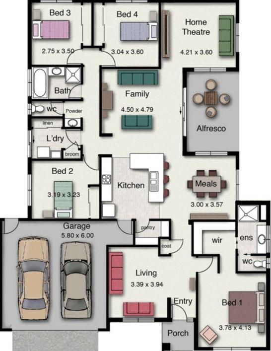 7 Planos De Casas Modernas De 1 Piso Y Cochera Doble Planos De Casas Modernas Planos De Casas 3d Casa De 4 Dormitorios