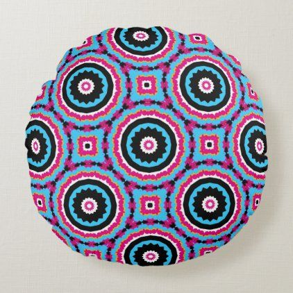 Turquoise Pink & Black Stylish Geometric Pattern Round Pillow