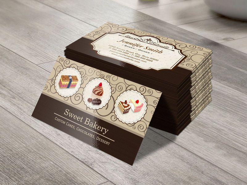 Sweet Bakery Store Custom Cakes Chocolates Dessert Business Card ...