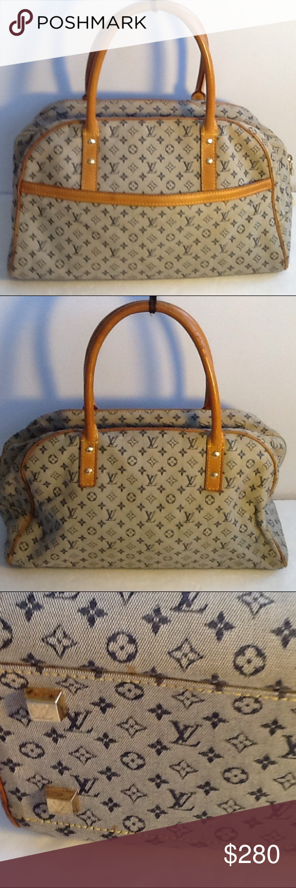 Authentic Louis Vuitton Mary Gray Blue Monogram. The canvas and inside linen had sone stains. The bag was made in Spain with a date code CA 0090. The dimension is 12, 8 and 6.5. The canvas and straps showed signs of used. Louis Vuitton Bags Satchels
