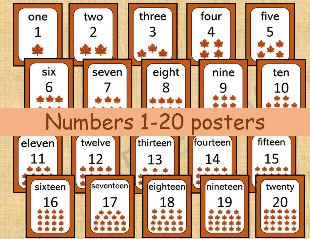 20 Printable Numbers Posters Fall Leaves Numbers 1 20