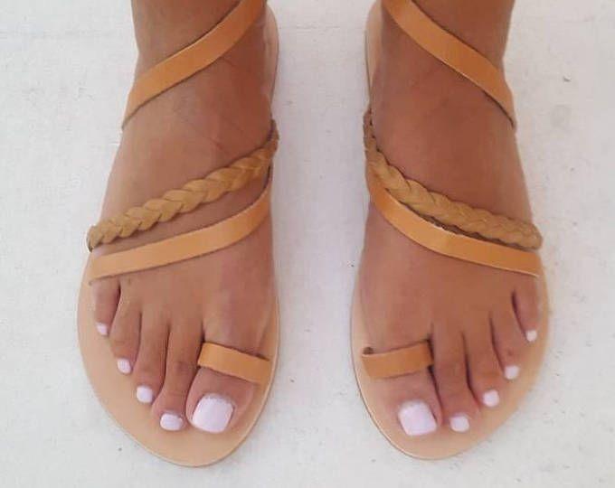Griechische Sandalen Slip Auf Sommer Wohnungen Ledersandalen Romersandalen Sandalen Sandaletten Fur Damen Leder Wohnungen Naturleder Handgefertigt Fashion Sandals Shoes