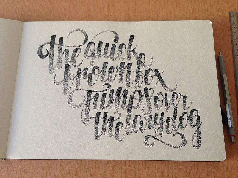 Hermosa mano letras Stippled e ilustraciones de Xavier Casalta