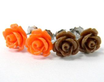 Cleveland Browns Earring Set   Brown & Orange Rose Cabochon Titanium Post Stud Earrings  NFL Hypoallergenic Jewelry  Autumn