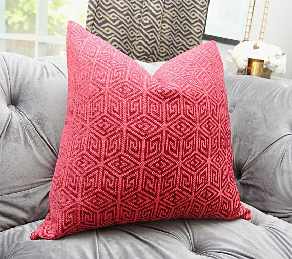 Schumacher Pillow Cover Raspberry Red and Burgundy Geometric ...