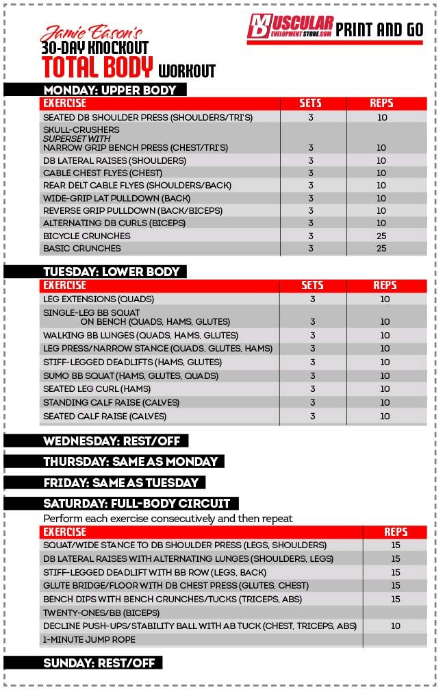 jamie eason total body chart 30 day total body fitness