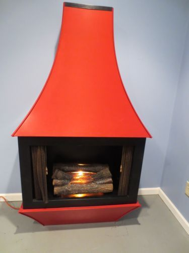 Retro Red Electric Fireplace 68 Tall Mid Century Modern Looks Like Real Fire Ebay