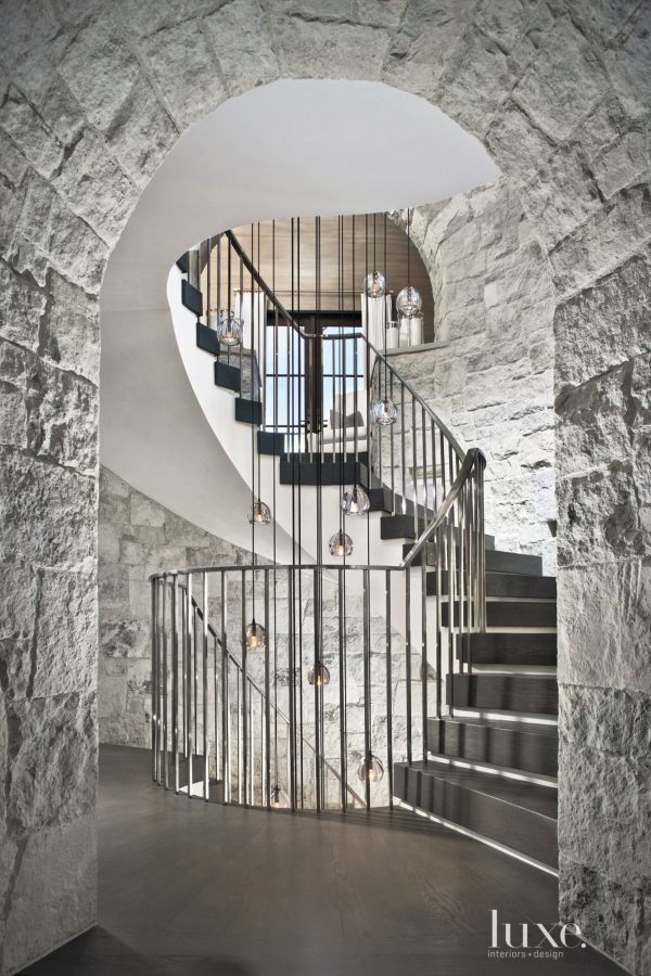 This Traditional Three Story Spiral Stairway Located In A