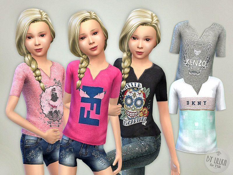 Shirt G01 Sims 4 toddler, Sims 4 cc kids clothing, Sims