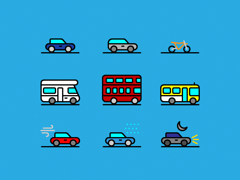 71 Traffic & Transportation Icon Collection Design