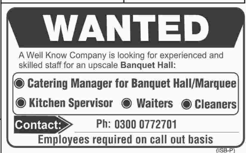 Catering Manager Kitchen Supervisor Waiter \ Cleaner Jobs In - catering manager job description