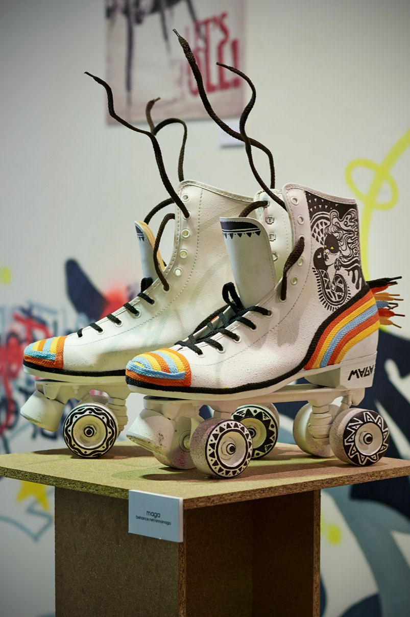 """Funky skates for the exhibition """"Dance & Roll"""" organized by BCN Roller Dance. Artist: Maga https://www.etsy.com/listing/209640509/art-roller-skates-by-maga?ref=shop_home_active_6"""