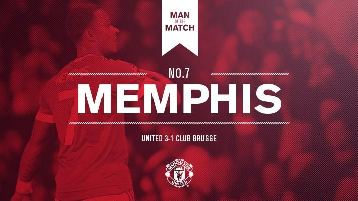 #mufc 3 Club Brugge 1  #ChampionsLeague  Two goals and an assist - few could argue with tonight's Man of the Match result. Congratulations, #Memphis!