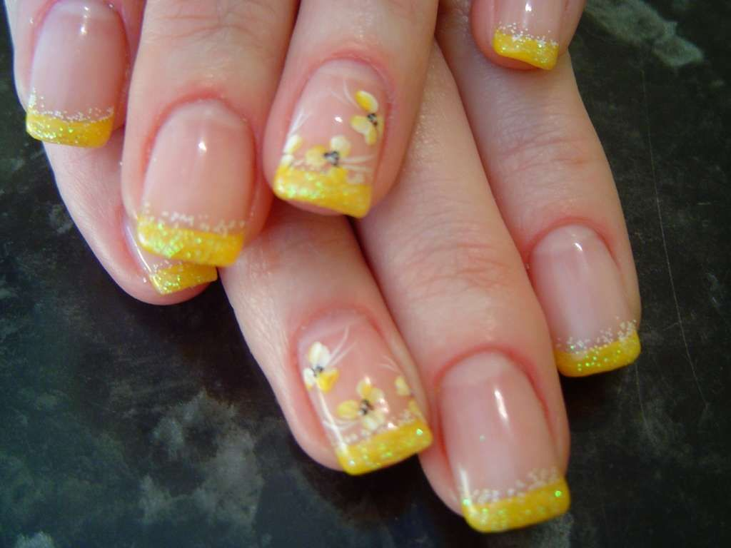 Yellow French mani with flowers :: one1lady.com :: #nail #nails ...