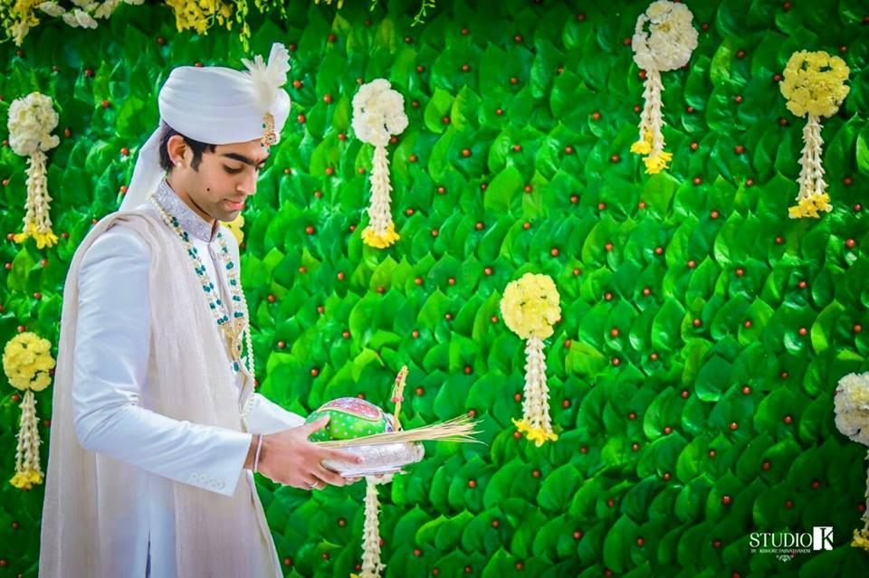 Backdrop With Betel Leaves Flower Decorations Wedding Stage Decorations Indian Wedding Decorations